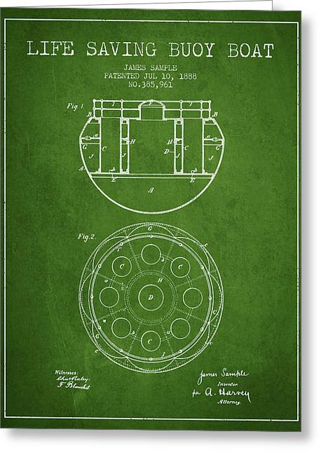Lifebelt Greeting Cards - Life Saving Buoy Boat Patent from 1888 - Green Greeting Card by Aged Pixel