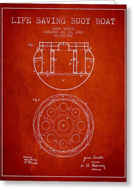 Lifebelt Greeting Cards - Life Saving Buoy Boat Patent from 1888 - Red Greeting Card by Aged Pixel