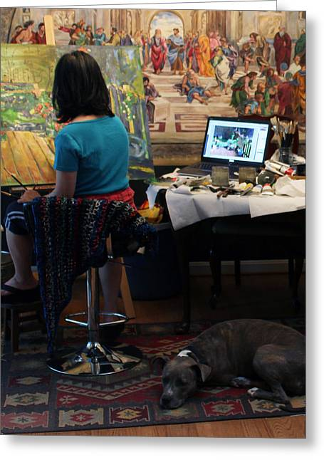 Behind The Scenes Photographs Greeting Cards - Life With Artist 1 Greeting Card by Becky Kim