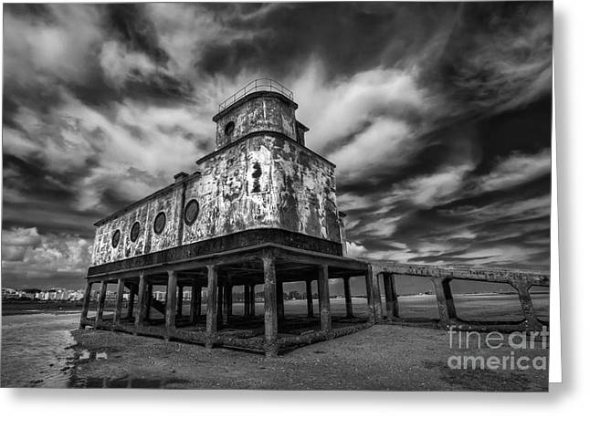 Blue Ria Greeting Cards - Lifeboat Station BW Greeting Card by English Landscapes