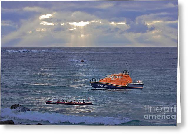 Sennen Greeting Cards - Lifeboats and a Gig Greeting Card by Terri  Waters