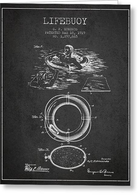 Lifebelt Greeting Cards - Lifebuoy Patent from 1919 - Charcoal Greeting Card by Aged Pixel