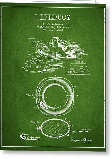 Lifebelt Greeting Cards - Lifebuoy Patent from 1919 - Green Greeting Card by Aged Pixel