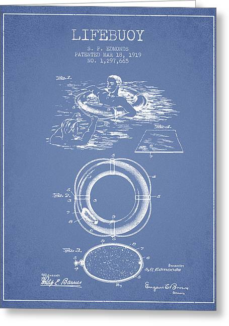 Lifebuoy Greeting Cards - Lifebuoy Patent from 1919 - Light Blue Greeting Card by Aged Pixel