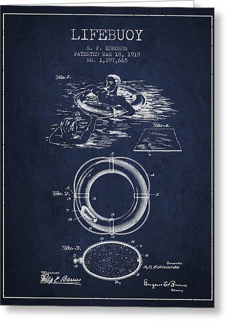 Lifebelt Greeting Cards - Lifebuoy Patent from 1919 - Navy Blue Greeting Card by Aged Pixel