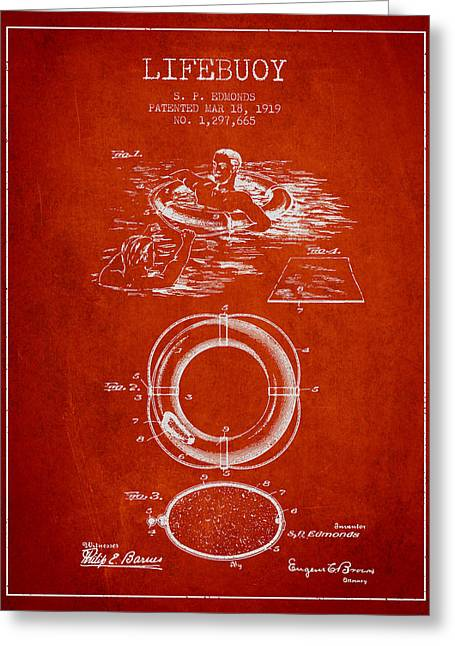 Lifebelt Greeting Cards - Lifebuoy Patent from 1919 - Red Greeting Card by Aged Pixel