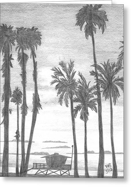 Beach Landscape Drawings Greeting Cards - Lifeguard 16 Greeting Card by Ray Ratzlaff