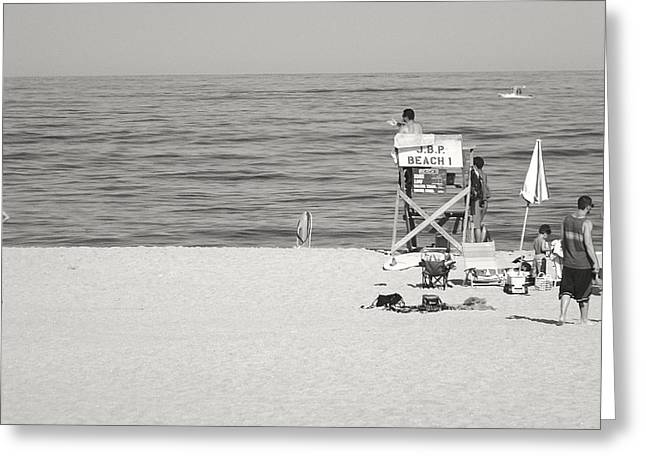 Jenkinsons Greeting Cards - Lifeguard at Jenkinsons Beach Greeting Card by Gregory Andrus