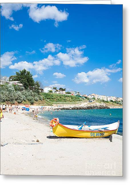 Nord Greeting Cards - Lifeguard boat at Eforie Nord Greeting Card by Gabriela Insuratelu