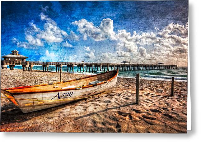 Canoe Photographs Greeting Cards - Lifeguard Boat Greeting Card by Debra and Dave Vanderlaan