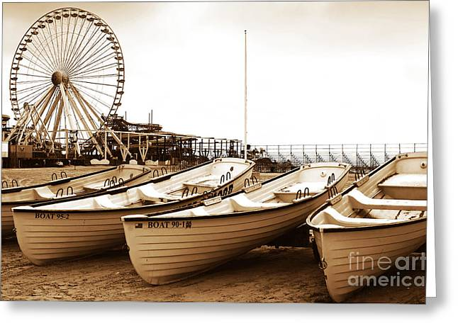 Old School Galleries Greeting Cards - Lifeguard Boats Greeting Card by John Rizzuto