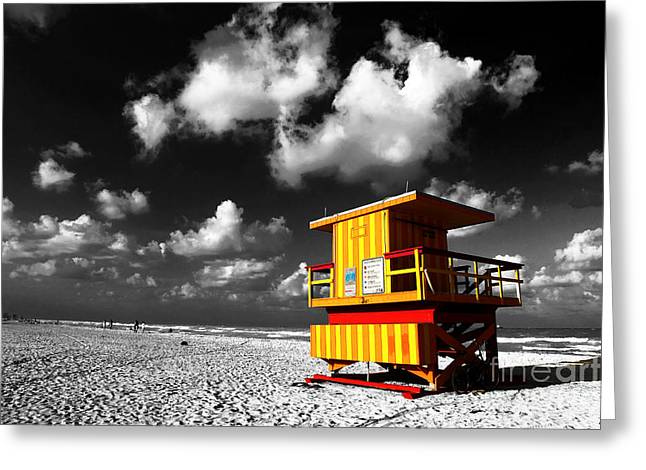 Monotone Color Greeting Cards - Lifeguard Fusion Greeting Card by John Rizzuto