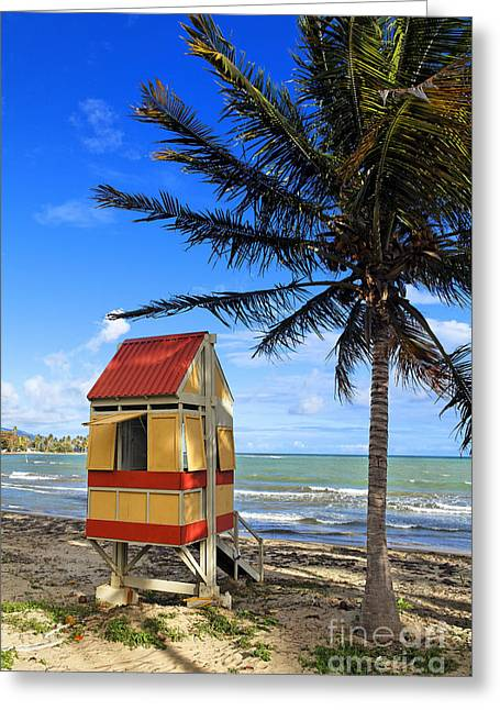Lifeguard Hut On A Beach Greeting Card by George Oze