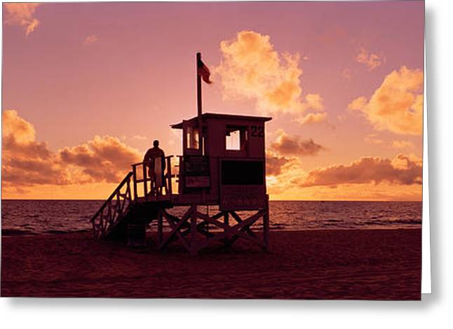 Person Greeting Cards - Lifeguard Hut On The Beach, 22nd St Greeting Card by Panoramic Images