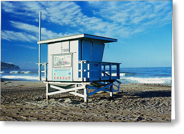Horizon Over Water Greeting Cards - Lifeguard Hut On The Beach, Torrance Greeting Card by Panoramic Images