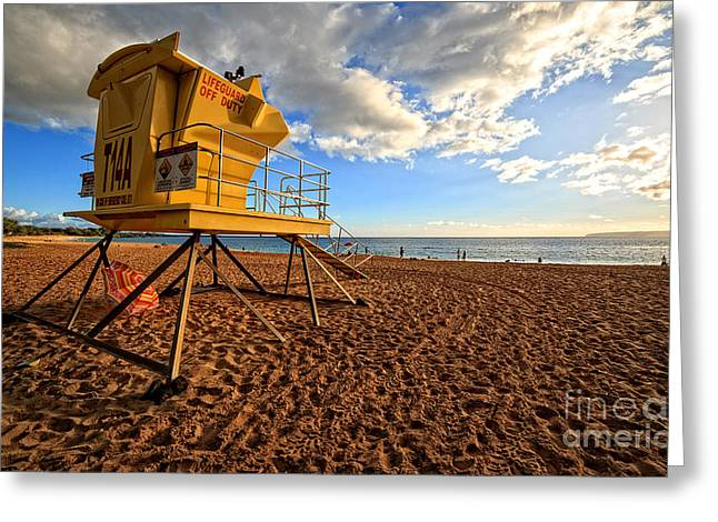 Shack Photographs Greeting Cards - Lifeguard Off Duty Maui Hawaii Greeting Card by Edward Fielding