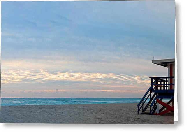 Absence Greeting Cards - Lifeguard On The Beach, Miami Greeting Card by Panoramic Images