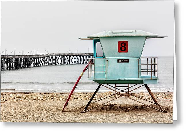 Recently Sold -  - Ventura California Greeting Cards - Lifeguard Stand and Surfboard at Ventura Pier Greeting Card by Ken Wolter