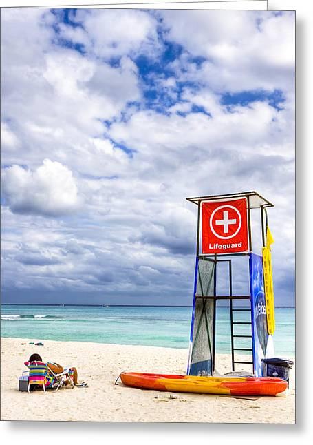 Sea Platform Photographs Greeting Cards - Lifeguard Stand On A Lazy Caribbean Beach Greeting Card by Mark Tisdale