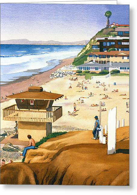 Southern California Beach Greeting Cards - Lifeguard Station at Moonlight Beach Greeting Card by Mary Helmreich