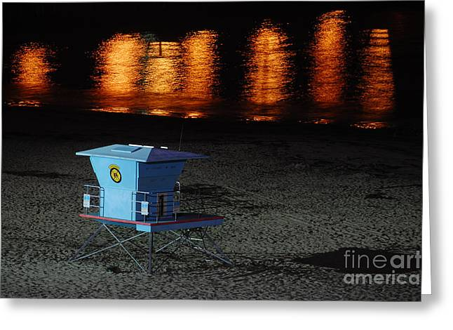 Santa Cruz Wharf Greeting Cards - Lifeguard Station At Night Greeting Card by Debra Thompson