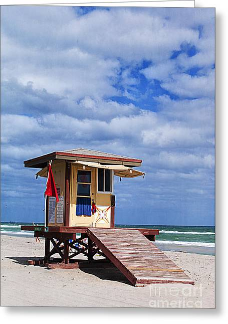 Beach Towel Photographs Greeting Cards - Lifeguard Station in Hollywood Florida Greeting Card by Terry Rowe