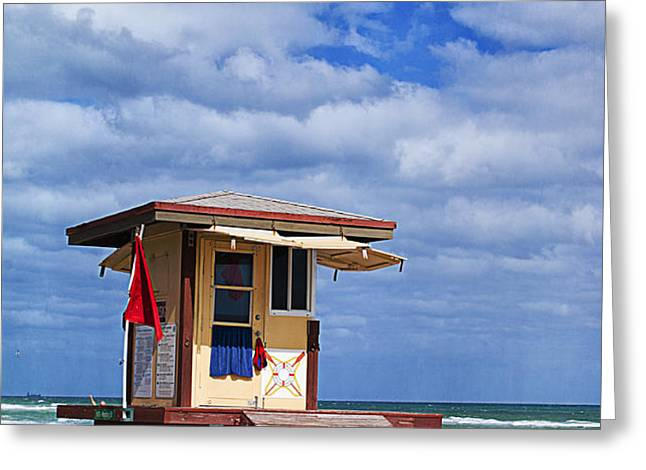Lifeguard Station in Hollywood Florida Greeting Card by Terry Rowe