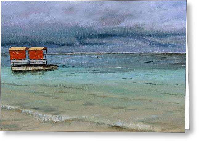 Sea View Greeting Cards - Lifeguard Station, Mauritius, 2008 Oil On Canvas Greeting Card by Trevor Neal