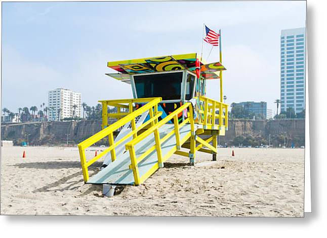 California Beach Greeting Cards - Lifeguard Station On The Beach, Santa Greeting Card by Panoramic Images