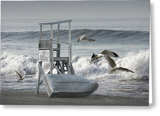 Guard Tower Greeting Cards - Lifeguard Station with flying gulls at a Lake Huron Beach Greeting Card by Randall Nyhof