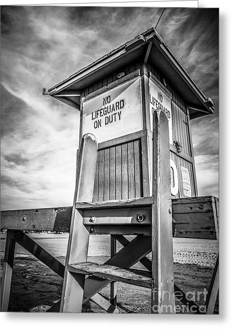 Black And White Hdr Greeting Cards - Lifeguard Tower 10 Newport Beach HDR Picture Greeting Card by Paul Velgos