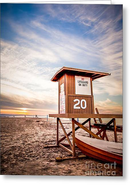 Orange County Greeting Cards - Lifeguard Tower 20 Newport Beach CA Picture Greeting Card by Paul Velgos