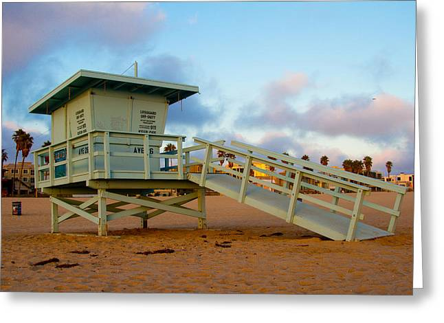 Santa Monica Pyrography Greeting Cards - Lifeguard Tower Greeting Card by Antonino Escalante