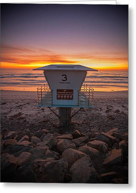 California Beach Greeting Cards - Lifeguard Tower at Dusk Greeting Card by Peter Tellone