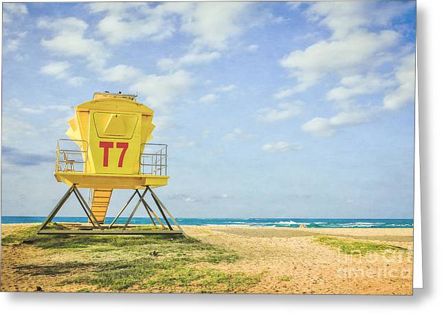 Lifeguard Tower At The Beach Greeting Card by Edward Fielding