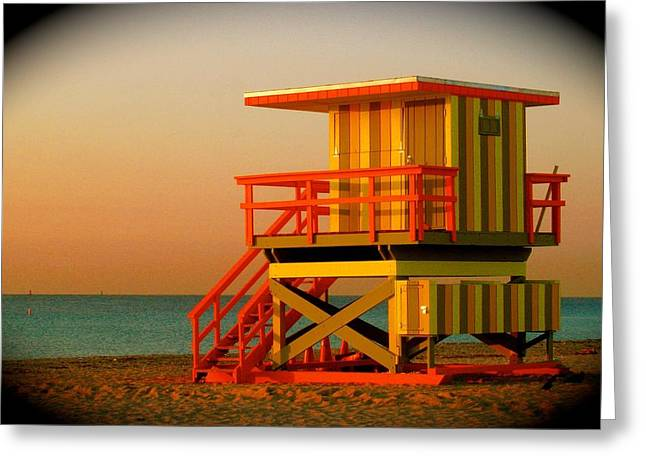 Guard Tower Greeting Cards - Lifeguard Tower in Miami Beach Greeting Card by Monique Wegmueller