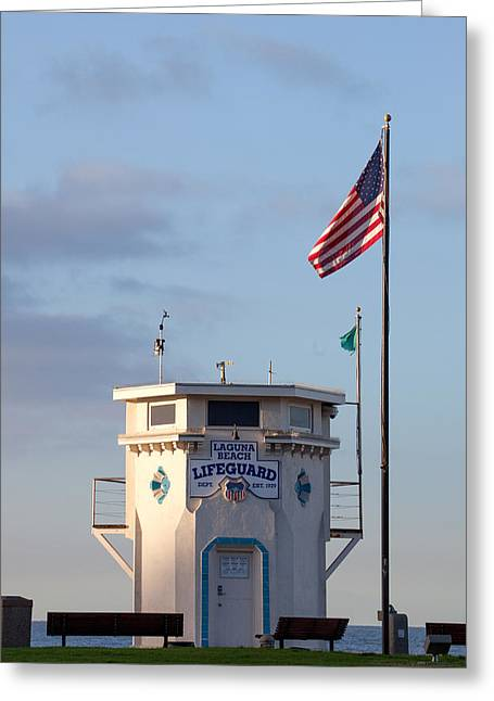 Flying Flag Greeting Cards - Lifeguard Tower Main Beach Laguna Greeting Card by Cliff Wassmann