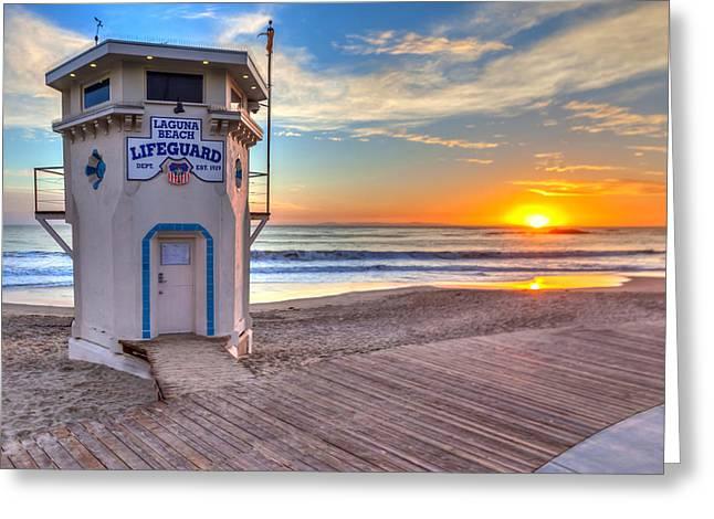 Lifeguard Tower On Main Beach Greeting Card by Cliff Wassmann