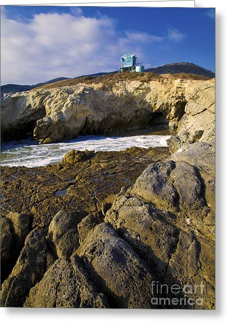 Shack Greeting Cards - Lifeguard tower on the edge of a cliff Greeting Card by David Millenheft
