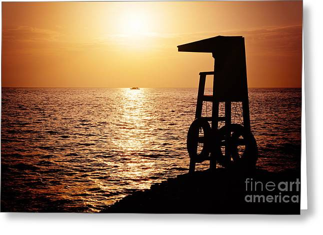 Sea. Morning Greeting Cards - Lifeguard tower silhoette Greeting Card by Jane Rix