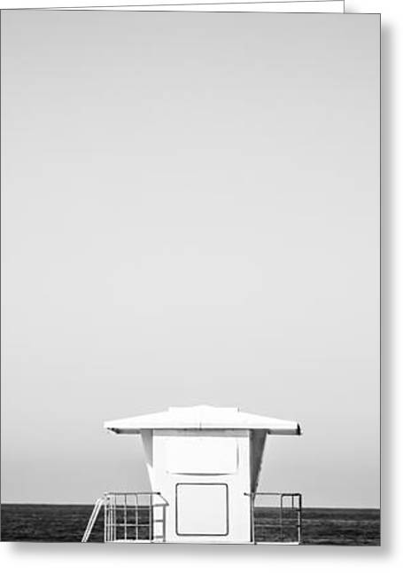Ocean Black And White Prints Greeting Cards - Lifeguard Tower Vertical  Panoramic Picture Greeting Card by Paul Velgos