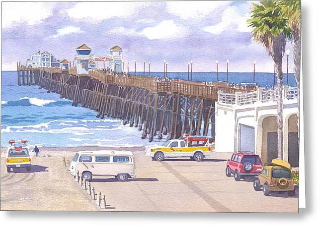 Lifeguard Trucks At Oceanside Pier Greeting Card by Mary Helmreich