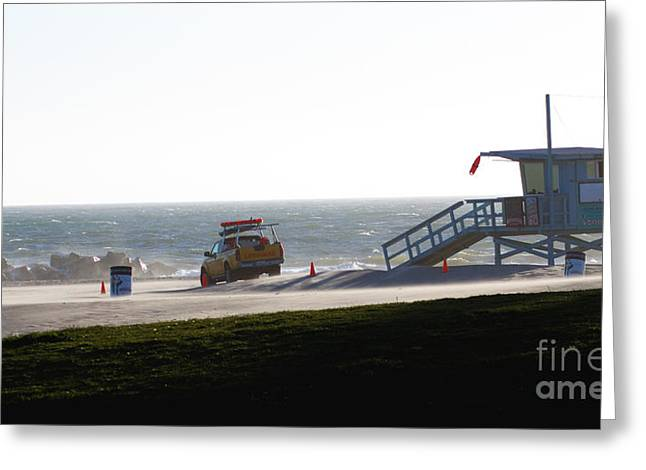 Venice Beach Palms Greeting Cards - Lifeguard watch Greeting Card by Micah May