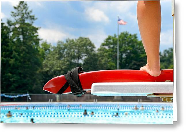 Shin Guard Greeting Cards - Lifeguard watches Swimmers Greeting Card by Amy Cicconi