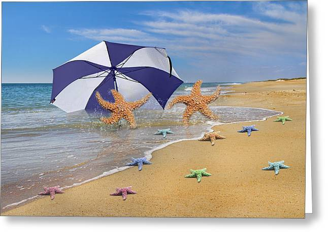 Seastar Greeting Cards - Lifes A Beach Greeting Card by Betsy C  Knapp