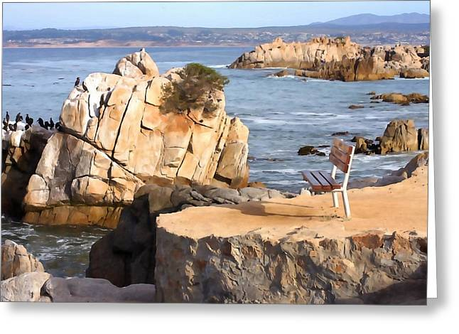 Pacific Grove Beach Greeting Cards - Lifes a Bench Greeting Card by Art Block Collections