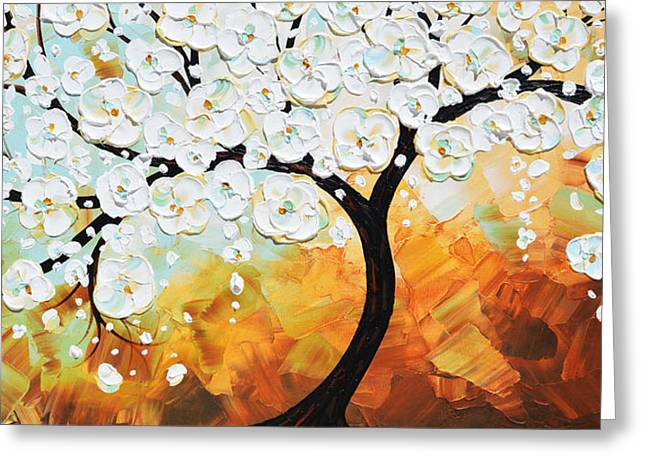 Artist Christine Krainock Greeting Cards - Lifes Innocence - White Cherry Tree Greeting Card by Christine Krainock