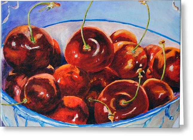 Toelle Hovan Greeting Cards - Lifes s Bowl of Cherries Greeting Card by Toelle Hovan