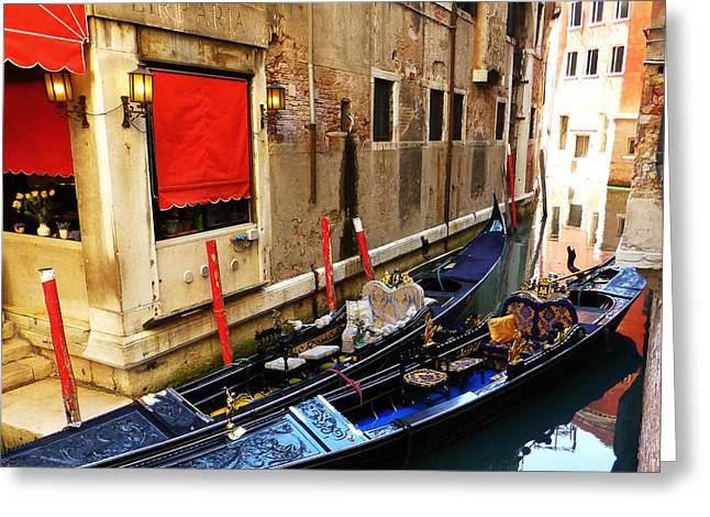 Gondolier Greeting Cards - Lifestyles  Greeting Card by Connie Handscomb