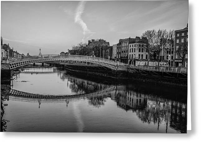 Liffey Greeting Cards - Liffey River Dublin Ireland in Black and White Greeting Card by Bill Cannon